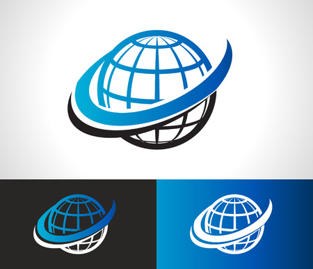 Illustration pour World logo icon with swoosh graphic element - image libre de droit