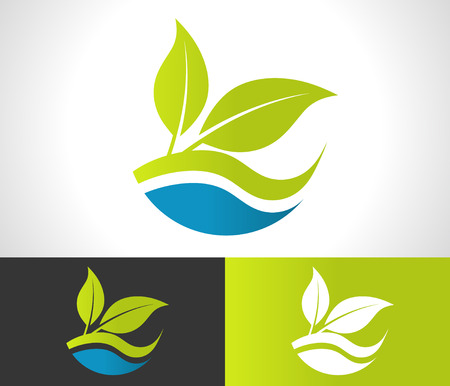 Illustration for Green ecological logo with leaf icon - Royalty Free Image