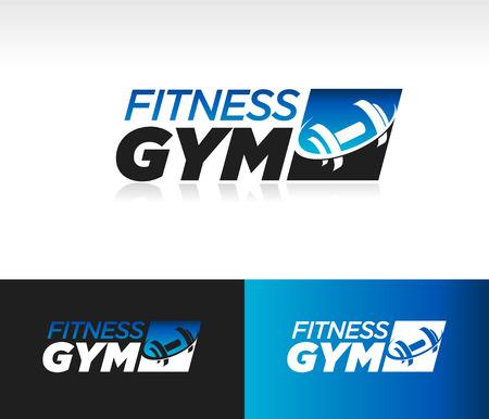Ilustración de Gym fitness barbell logo icon with swoosh graphic element - Imagen libre de derechos