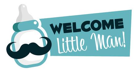 Illustration pour Baby shower emblem with mustache baby bottle - image libre de droit