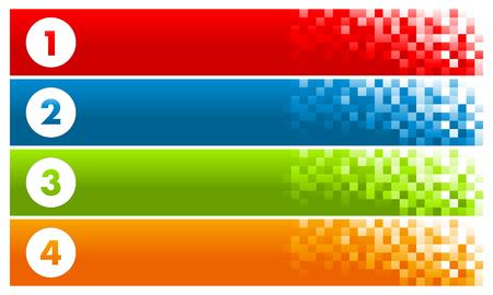 Illustration pour Set of Colorful Pixel Banners - image libre de droit