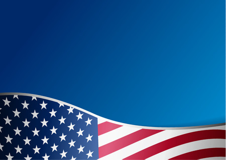 Illustration for American flag background with frame - Royalty Free Image