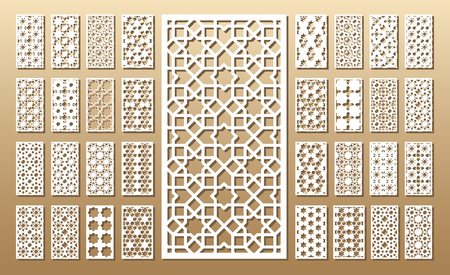 Illustration pour Die cut card. Laser cut 33 vector panels. Cutout silhouette with geometric pattern. A picture suitable for printing, engraving, laser cutting paper, wood, metal, stencil manufacturing. - image libre de droit