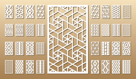 Ilustración de Die cut card. Laser cut 33 vector panels. Cutout silhouette with geometric pattern. A picture suitable for printing, engraving, laser cutting paper, wood, metal, stencil manufacturing. - Imagen libre de derechos