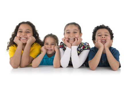 Group of Adorable Happy Kids Isolated on White Background