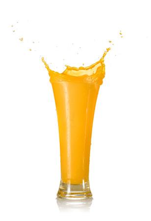 Photo for Mango Juice Splash in A Glass Isolated on White Background - Royalty Free Image