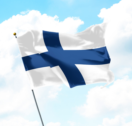 Foto de Flag of Finland Raised Up in The Sky - Imagen libre de derechos