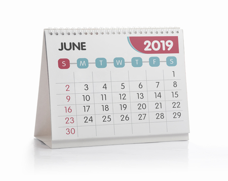 Photo for June White Office Calendar 2019 Isolated on White - Royalty Free Image