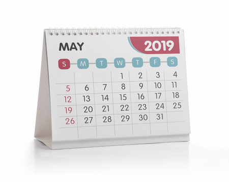 Foto de May White Office Calendar 2019 Isolated on White - Imagen libre de derechos