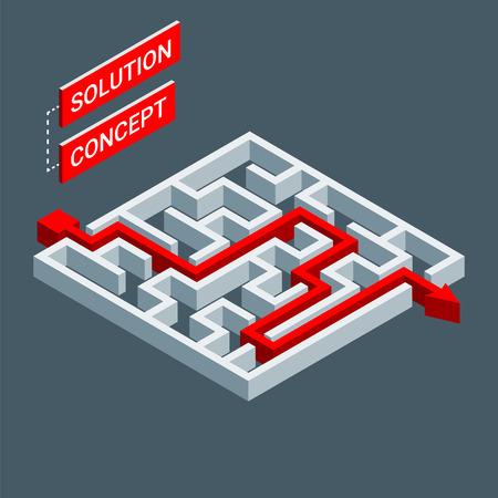 Ilustración de Isometric maze, labyrinth solution concept. Modern infographic template. Isometric vector illustration. - Imagen libre de derechos