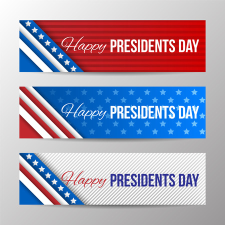 Illustration pour Set of modern vector horizontal banners, page headers with text for Presidents Day. Banners with stripes and stars in the colors of the American flag. - image libre de droit
