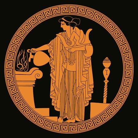 Illustration for Ancient Greek goddess Aphrodite on background, vector illustration. - Royalty Free Image