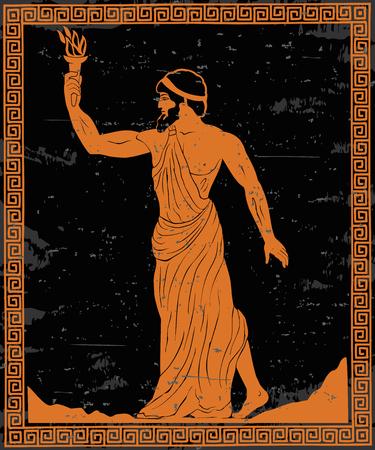 Ilustración de Ancient Greek hero Prometheus in a tunic with a fiery torch in his hand. - Imagen libre de derechos