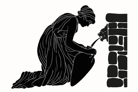 Illustration pour An ancient Greek woman sits near a stone parapet and fills water in a jug. Vector image isolated on white background. - image libre de droit
