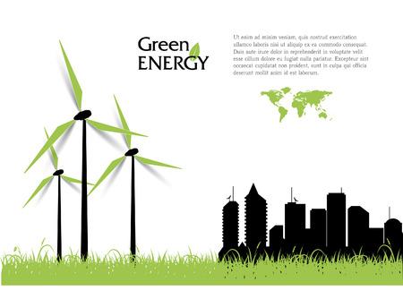 Ilustración de Creative vector with wind turbines, green energy concept. - Imagen libre de derechos