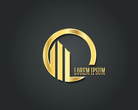 Illustration pour Creative vector logo design template. Golden symbol - image libre de droit
