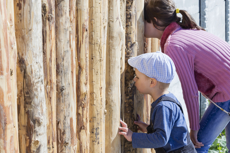 Photo for children are looking through the hole in the fence - Royalty Free Image