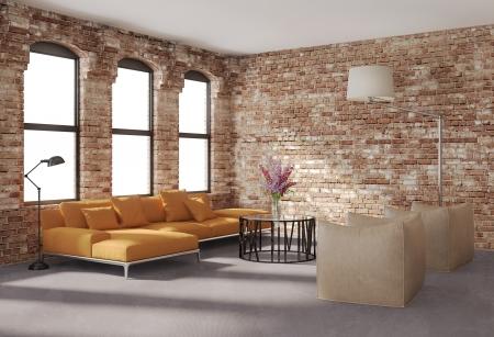 Contemporary stylish loft interior, brick walls, orange sofa