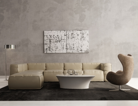 Photo for Contemporary grey living room interior - Royalty Free Image