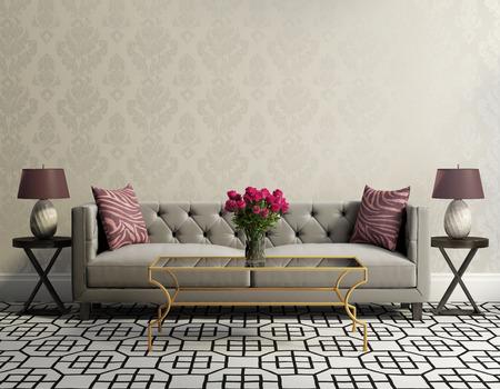 Foto de Vintage classic elegant living room with grey velvet sofa - Imagen libre de derechos