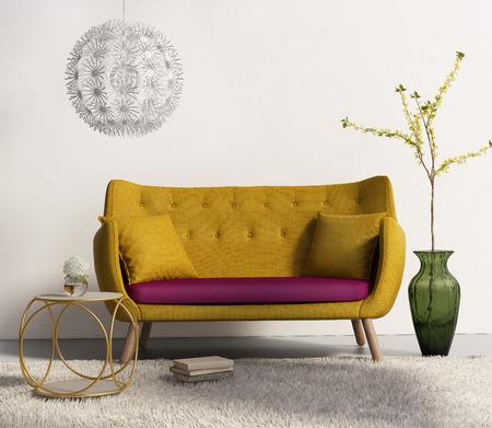 Foto de Yellow sofa in fresh interior living room - Imagen libre de derechos