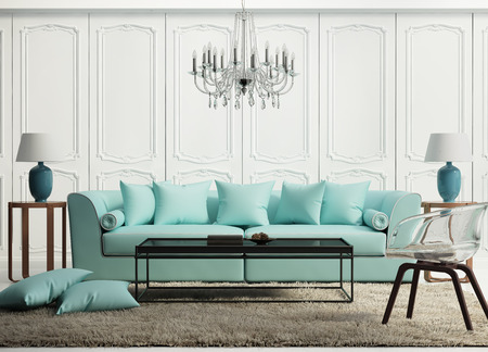 Photo pour Light green elegant baroque living room - image libre de droit