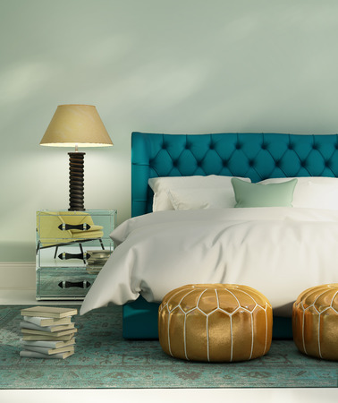 Photo pour Contemporary green luxury bedroom with leather bed and patterned rug - image libre de droit