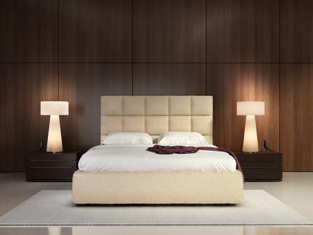 Photo pour Luxury elegant bedroom with wood wall - image libre de droit