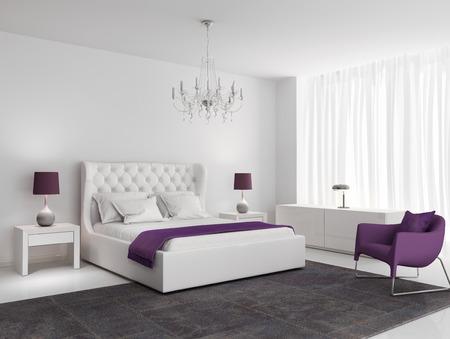 Photo pour White luxury bedroom with purple armchair and rug - image libre de droit