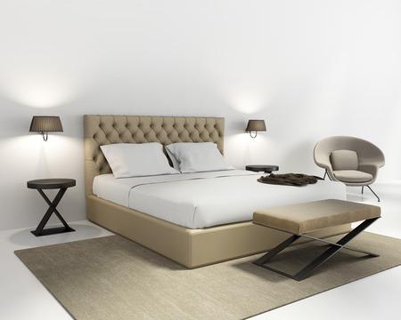 Photo pour Beige luxury bedroom with contemporary rug - image libre de droit