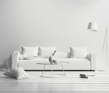 Photo pour White minimal contemporary interior living room - image libre de droit