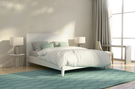 Photo pour White and green luxury bedroom with armchair and rug - image libre de droit