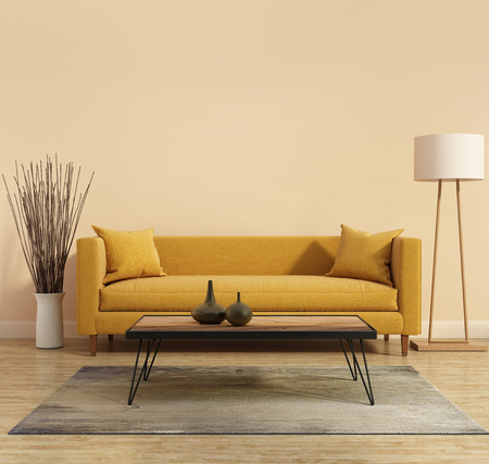 Modern interior with a yellow sofa in the living room