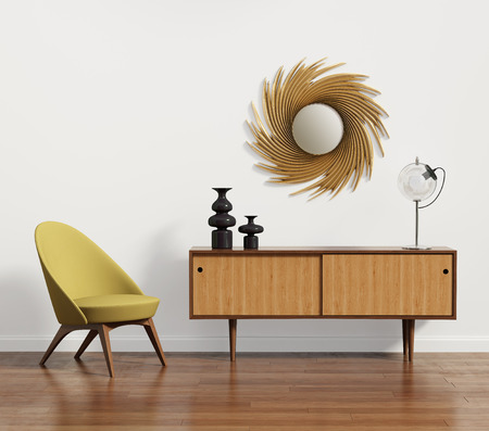 Photo for Scandinavian console table with armchair and mirror - Royalty Free Image