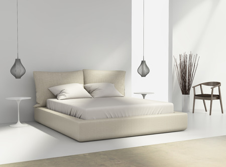 Photo pour White and beige bedroom with chair and pendant wire lamps - image libre de droit