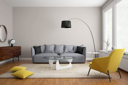 Foto de Modern scandinavian living room with grey sofa - Imagen libre de derechos