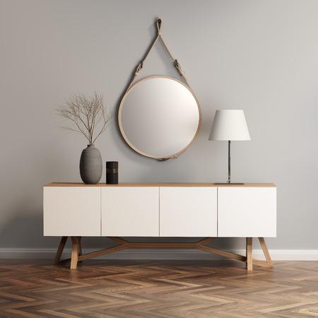 Foto de Buffet, console table on grey wall - Imagen libre de derechos