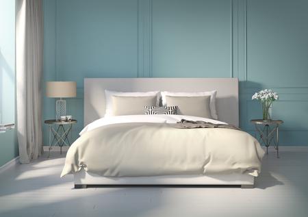 Photo pour Classic blue bedroom with white floor - image libre de droit