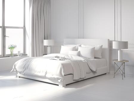 Photo pour Contemporary all white bedroom - image libre de droit