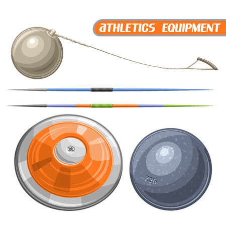 Vector logo for athletics equipment, consisting of abstract metal discus throw, shot put, throwing hammer, javelin. Track and field equipment for atletica championship summer games