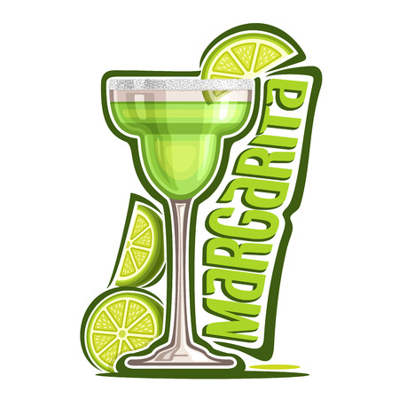 Illustration pour Vector illustration of alcohol Cocktail Margarita: garnish of sliced ??lime and salt on glass of mexican tequila cocktail, logo with green title - margarita, classic mocktail drink on white background. - image libre de droit