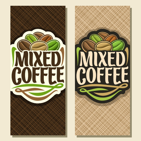 Illustration pour Vector vertical banners for coffee, pile of assorted seeds and original decorative typeface for title text mixed coffee, heap of dark roasted, green raw and light medium coffee beans for energy drink. - image libre de droit