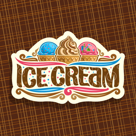 Illustration pour Vector logo for italian Ice Cream, cut paper signage for cafe with blue and pink scoop balls. - image libre de droit
