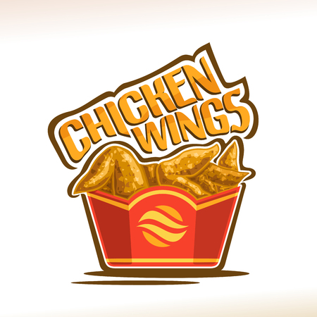 Ilustración de Vector for Chicken Wings, poster with crispy kentucky fried poultry in red carton box, original typeface for words chicken wings, illustration of label on white for american fastfood cafe menu. - Imagen libre de derechos