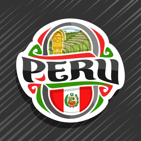 Illustration for Vector logo for Peru country, fridge magnet with peruvian state flag, original brush typeface for word peru and national peruvian symbols - ancient incan city Machu Picchu and golden knife tumy. - Royalty Free Image