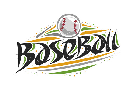 Vector logo for Baseball, outline illustration of hitting ball in goal, original decorative brush typeface for word baseball, abstract simplistic cartoon sports banner with lines and dots on white.