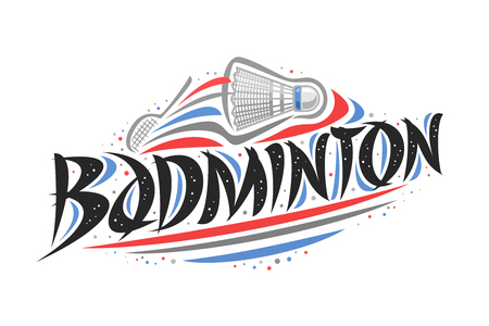 Vector logo for Badminton, creative illustration of hitting shuttlecock in goal, original decorative brush typeface for word badminton, abstract simplistic sports banner with lines and dots on white.