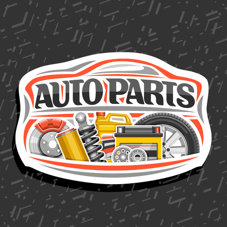 Illustration pour Vector logo for Auto Parts store, white decorative signboard with red car shape, lettering for words auto parts, illustrations of brake system, air filter, bottle of motor oil on abstract background. - image libre de droit