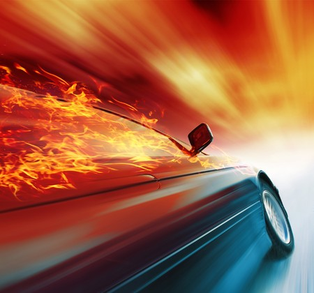 Photo pour Burning sport car in motion with red blurry clouds - image libre de droit
