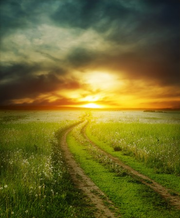 Road in field under dramatic sunset light